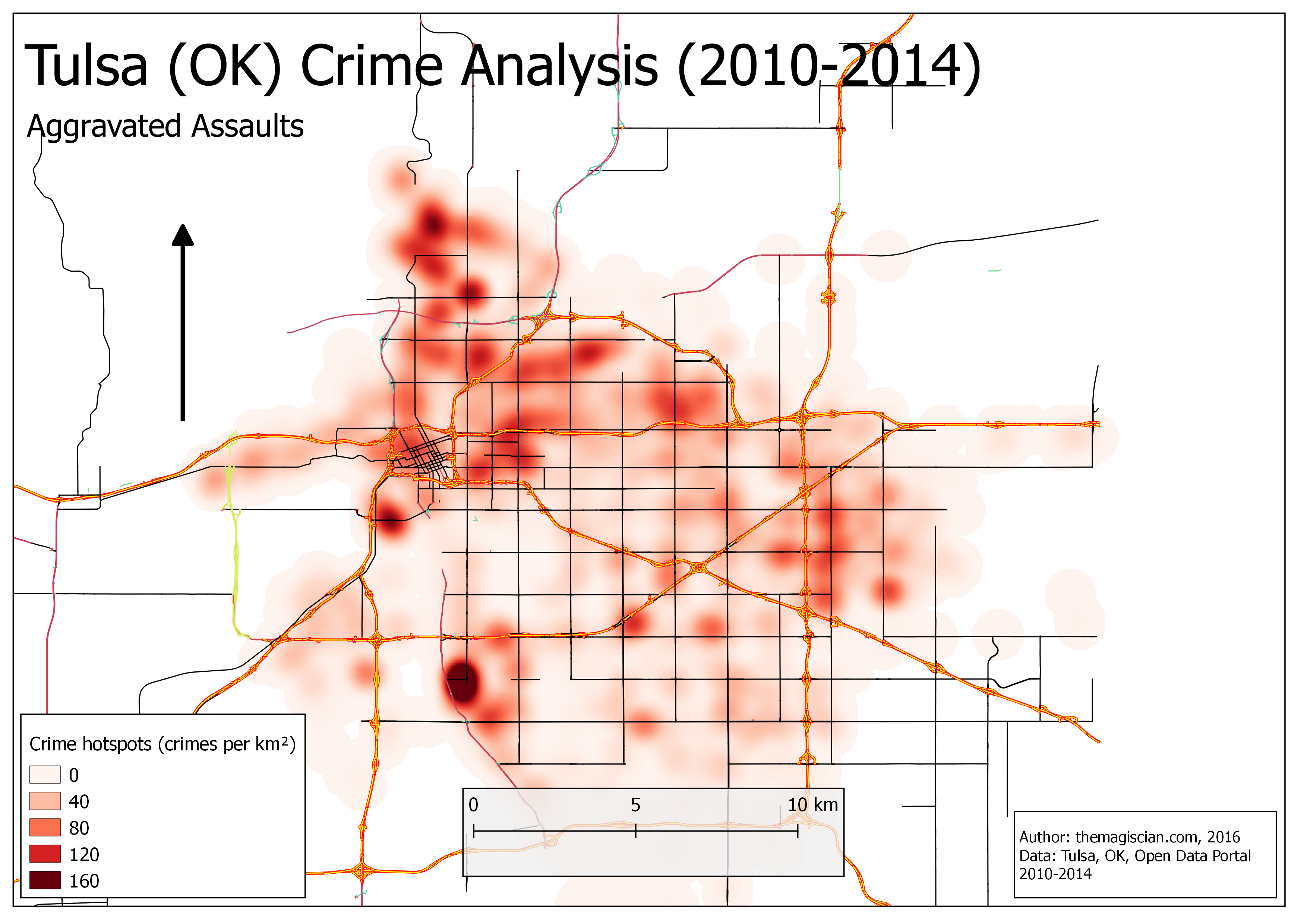 Aggravated Assaults hotspots (2010-2014)