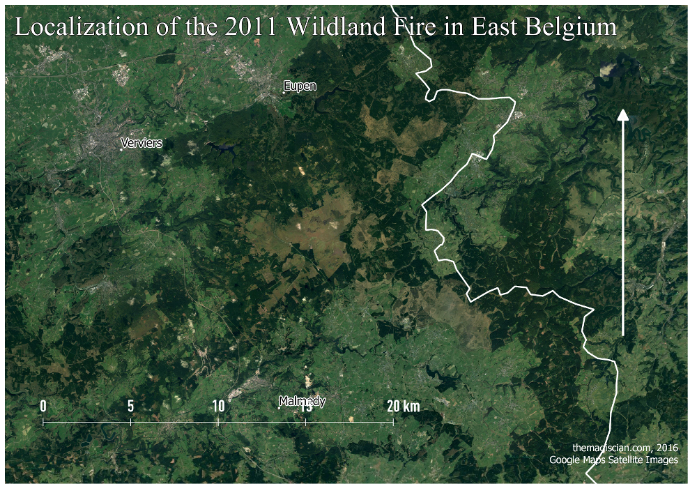 Wildland Fire Study Area: Bigger zoom level